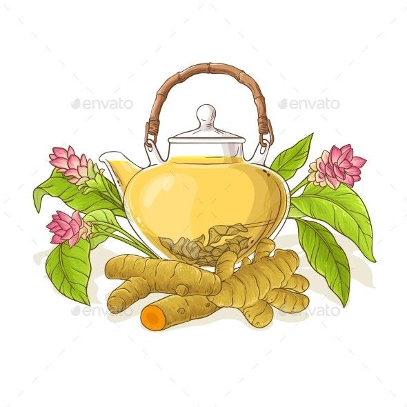 Turmeric Tea in Teapot Illustration - Food Objects