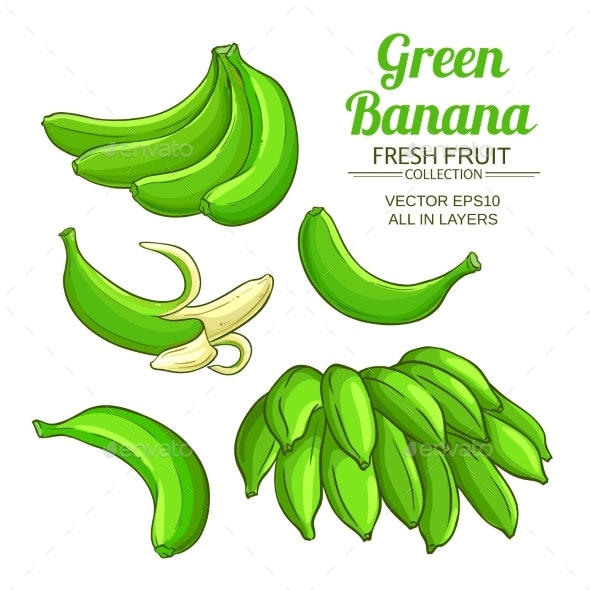 Green Banana Fruit Set on White Background - Food Objects