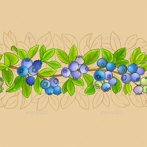 Blueberry Plant Vector Pattern on Color Background - Food Objects