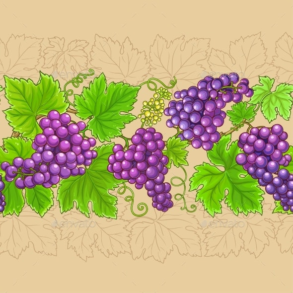 Grapes Horizontal Pattern on Color Background - Food Objects