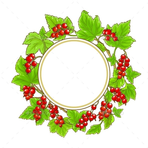 Red Currant Vector Frame on White Background - Food Objects