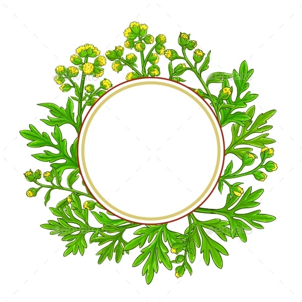 Wormwood Plant Circle Frame on White Background - Flowers & Plants Nature
