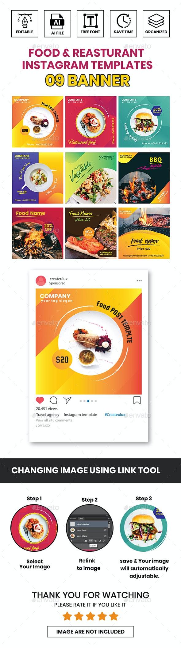 Food & Restaurant Instagram Templates - Miscellaneous Social Media