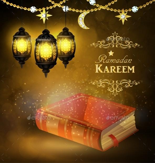 Islamic Religious Bookand Lantern - Religion Conceptual
