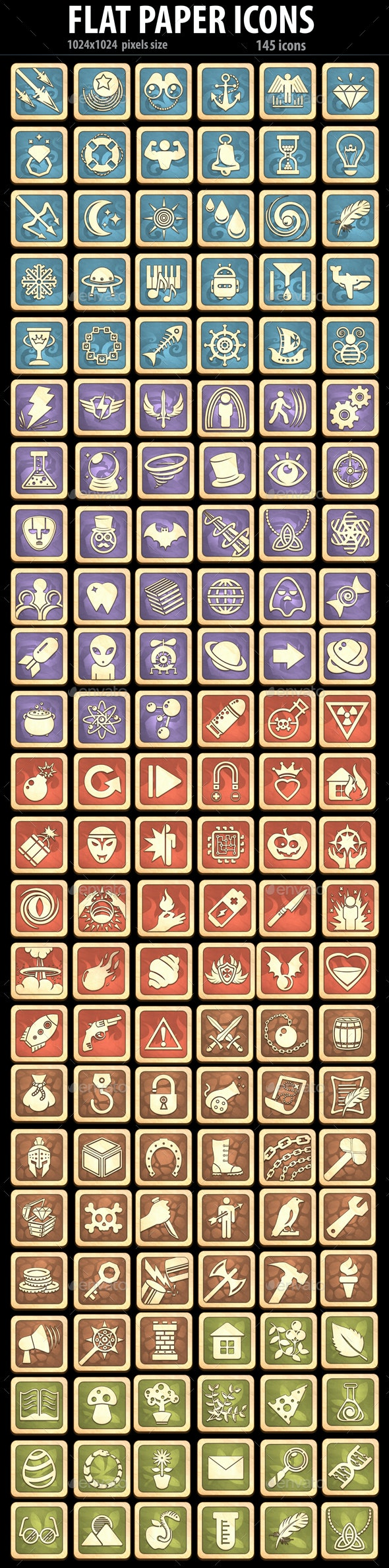 Flat Paper Icons - Miscellaneous Game Assets