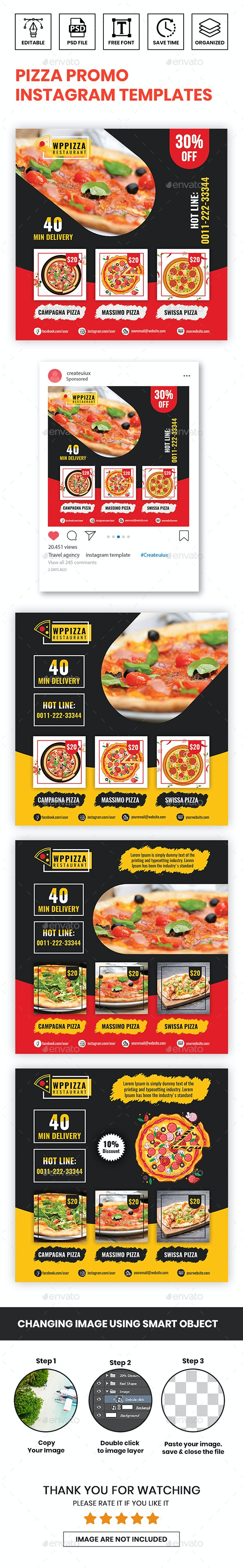 Pizza Promo Instagram Templates - Miscellaneous Social Media