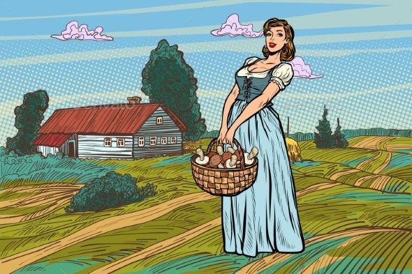 Village Woman with a Basket of Mushrooms - Food Objects