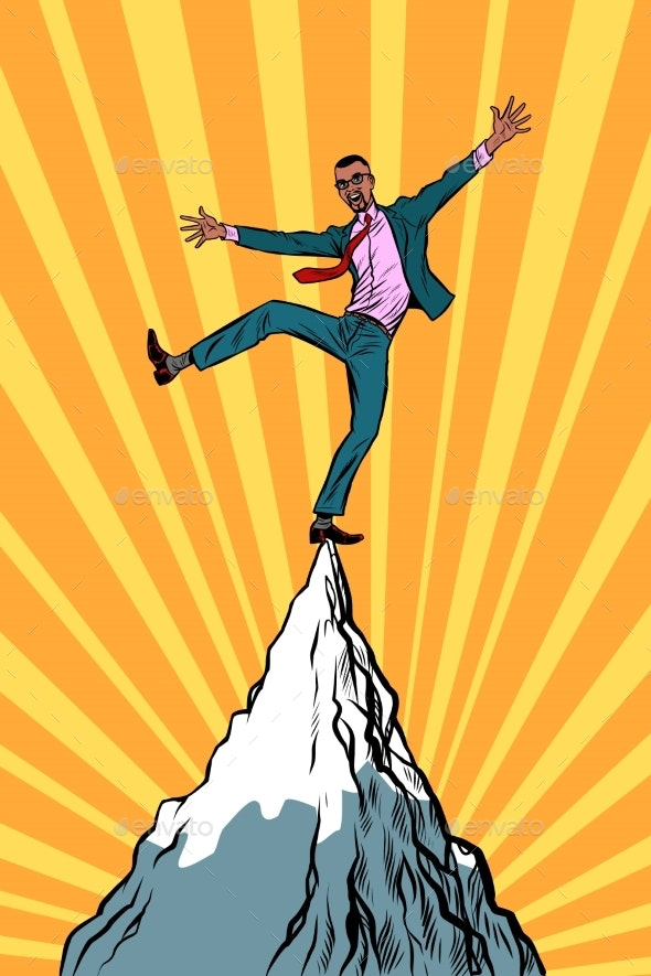 Businessman at the Top of the Mountain - Concepts Business