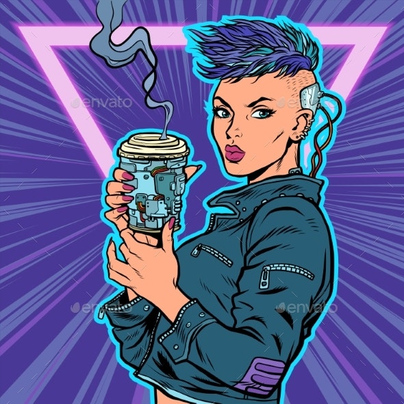 Cyber Woman Drinks Drink - People Characters