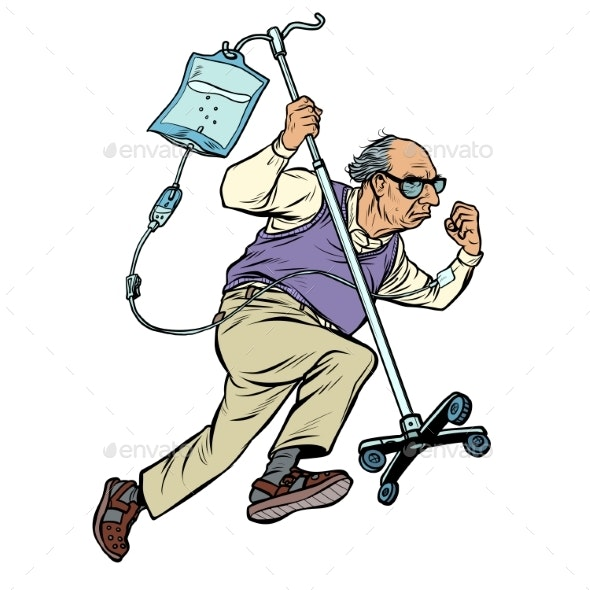 Cheerful Old Man Runs with a Dropper - People Characters