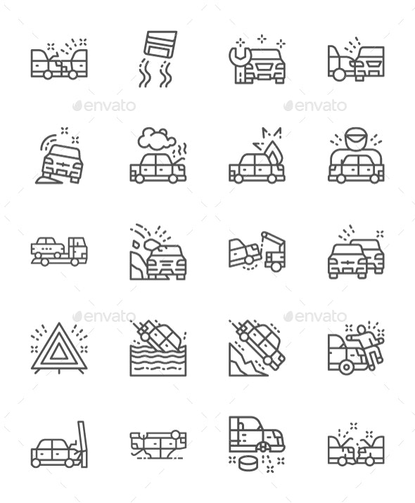 Set Of Car Accidents Line Icons. Pack Of 64x64 Pixel Icons - Objects Icons