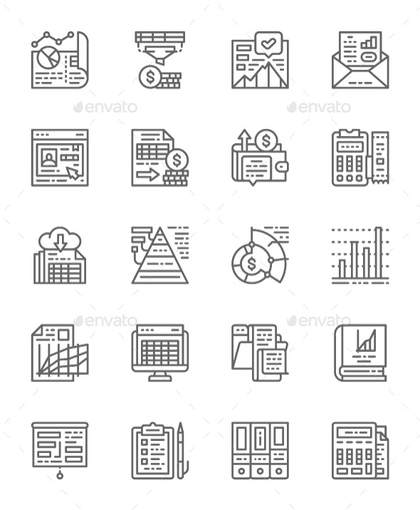Set Of Accounting Report Line Icons. Pack Of 64x64 Pixel Icons - Business Icons