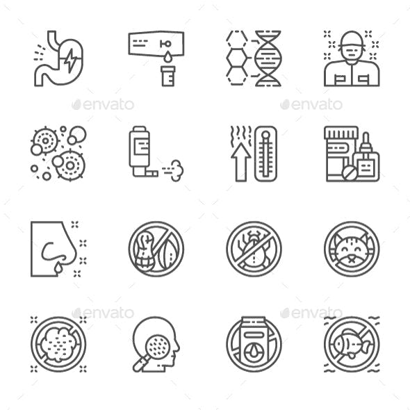Set Of Allergy Line Icons. Pack Of 64x64 Pixel Icons