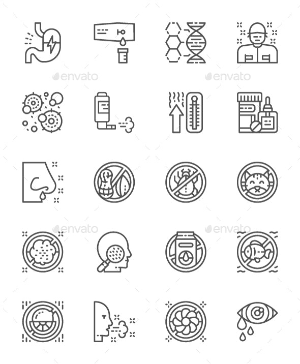 Set Of Allergy Line Icons. Pack Of 64x64 Pixel Icons - Abstract Icons
