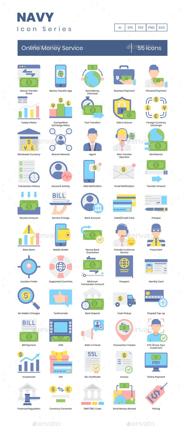 Online Money Service Icons – Navy Series - Business Icons