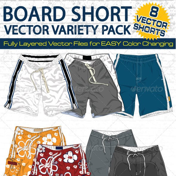 Mens Board Shorts Vector Flats Mock-Ups - Fashion