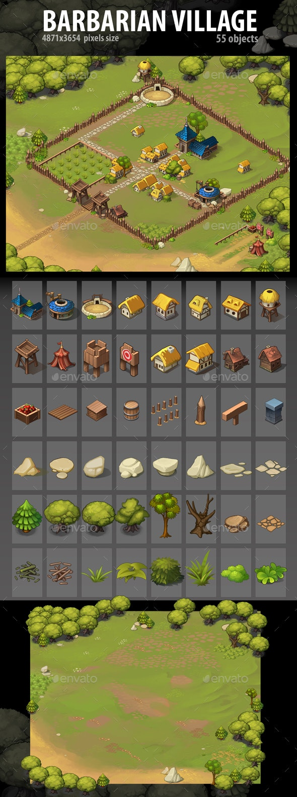 Barbarian Village - Miscellaneous Game Assets