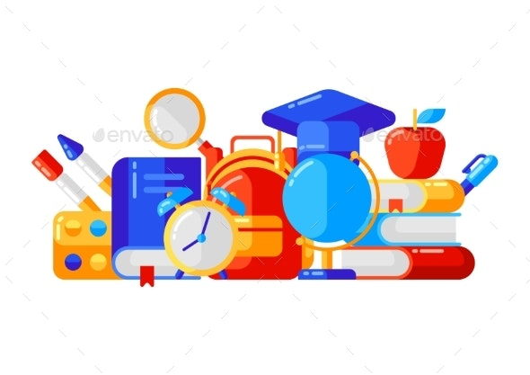 School Background with Education Icons and Symbols - Miscellaneous Vectors