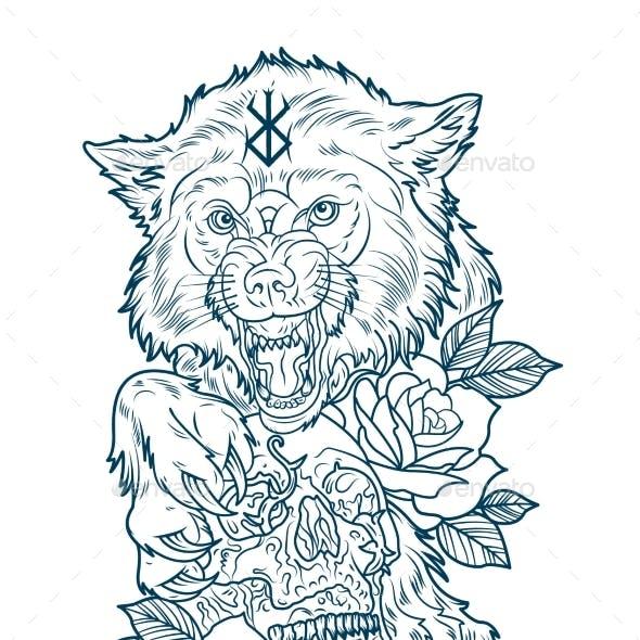 Huge Wolf Berserk with a Human Skull Tattoo