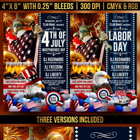 4th Of July Independence Day, Labor Day and Memorial Day Flyer Template