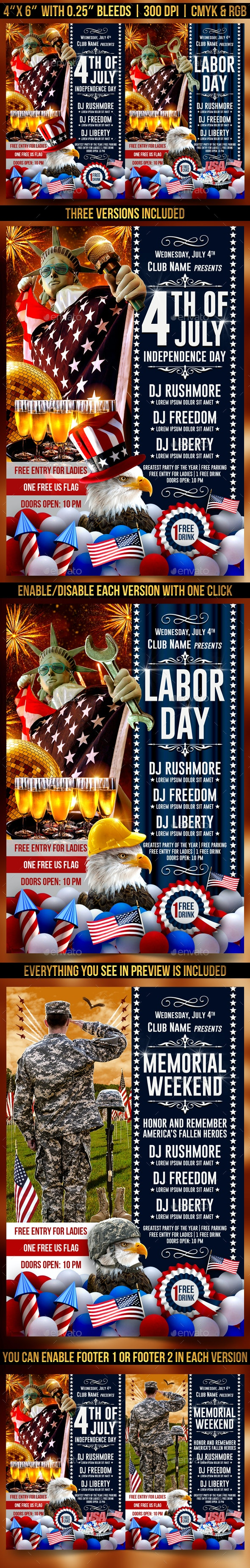 4th Of July Independence Day, Labor Day and Memorial Day Flyer Template - Clubs & Parties Events