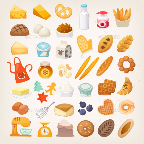 Baking Ingredients Icons - Food Objects