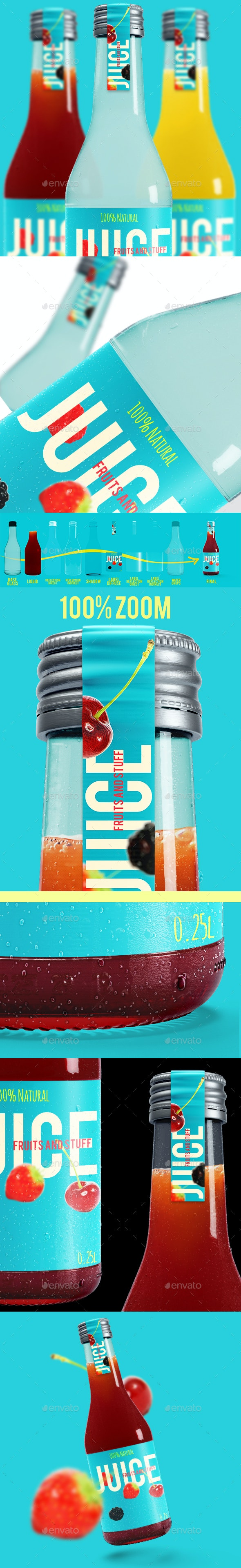 Juice Glass Bottle Mockup - Product Mock-Ups Graphics