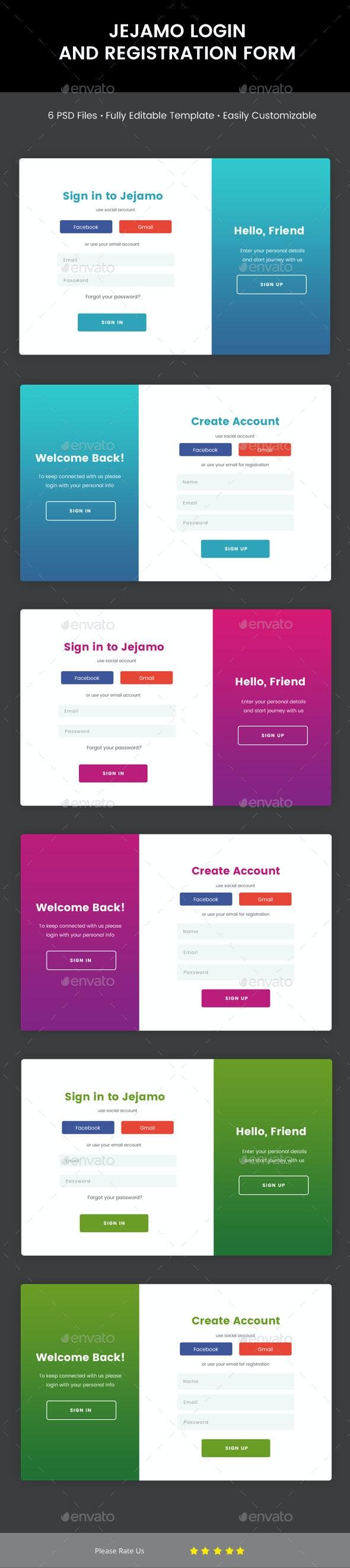 Jejamo - Login & Registration Form - Forms Web Elements