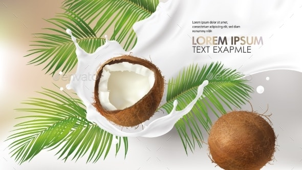 Coconut Milk Splash Swirl Realistic Vector - Food Objects
