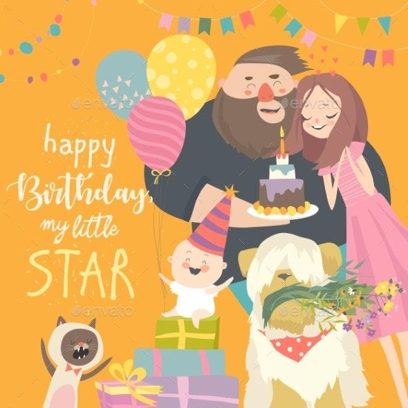Mom and Dad Celebrating Their Baby First Birthday - Birthdays Seasons/Holidays