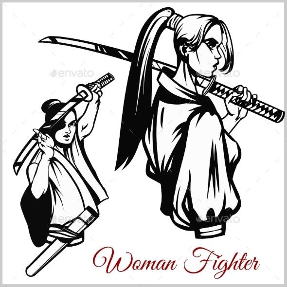 Geisha and Samurai Katana - Miscellaneous Vectors