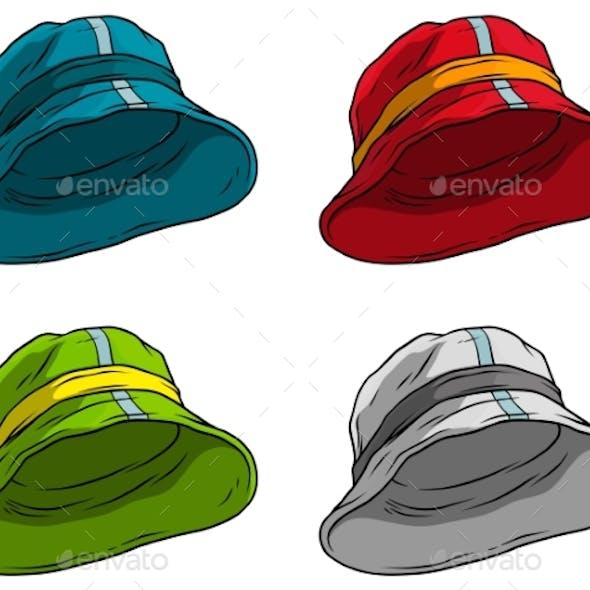 Cartoon Panama Hat or Cap Vector Icon Set