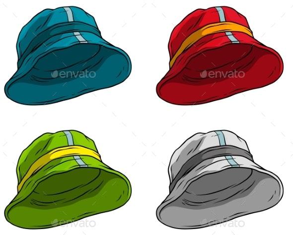 Cartoon Panama Hat or Cap Vector Icon Set - Objects Vectors