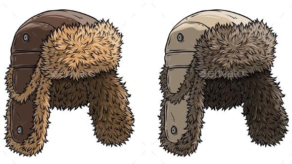 Cartoon Winter Fur Hat or Cap Vector Icon Set - Objects Vectors
