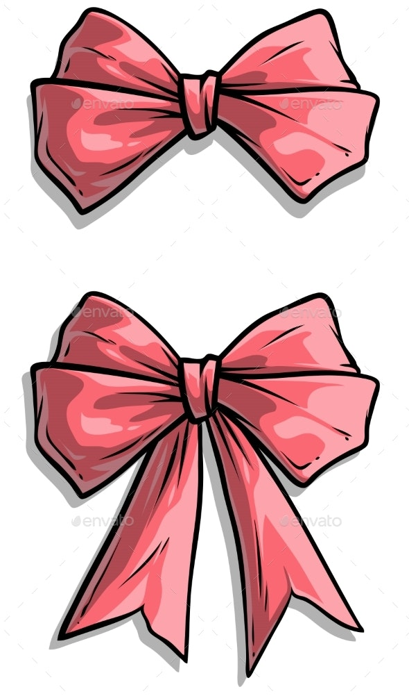 Cartoon Pink Holiday Bow Knot Vector Icon Set - Objects Vectors