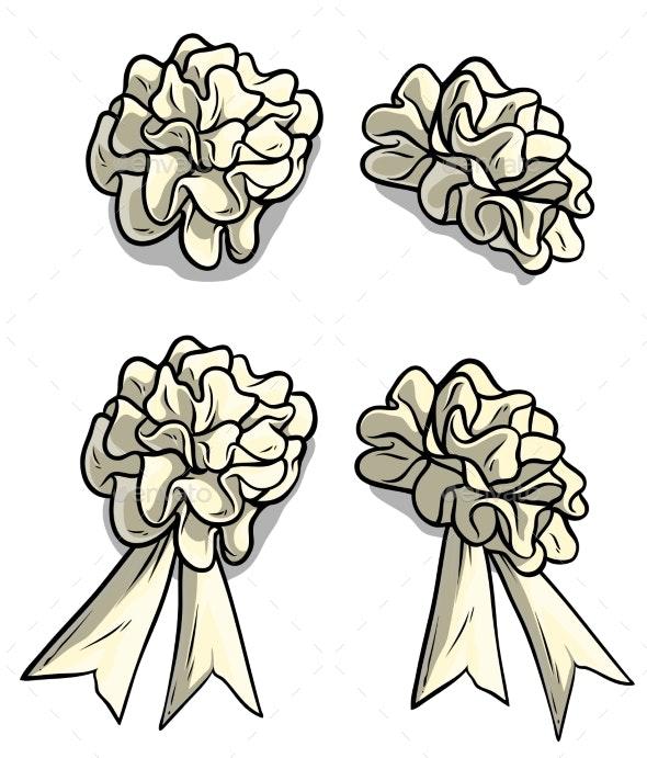 Cartoon White Holiday Bow Knot Vector Icon Set - Objects Vectors
