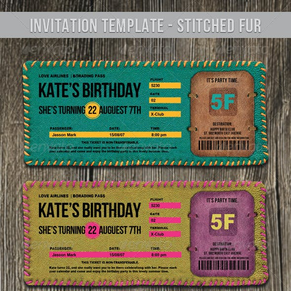 Invitation Template - Stitched Fur