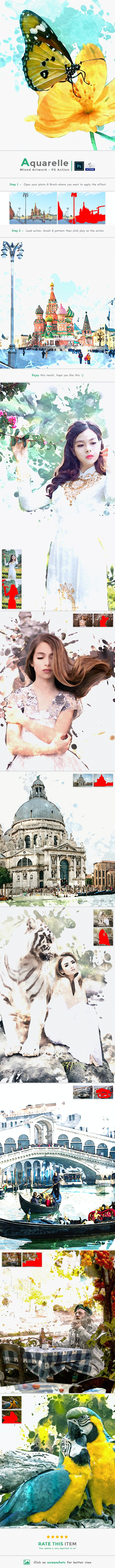 Aquarelle Mixed Artwork | PS Action - Photo Effects Actions