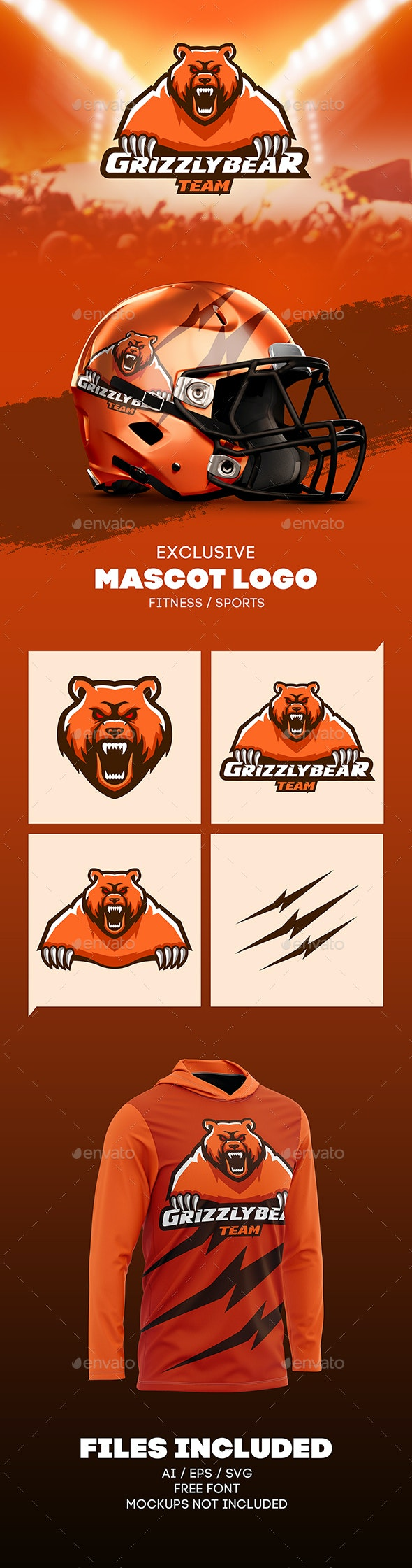 Grizzly Bear Mascot Logo - Logo Templates
