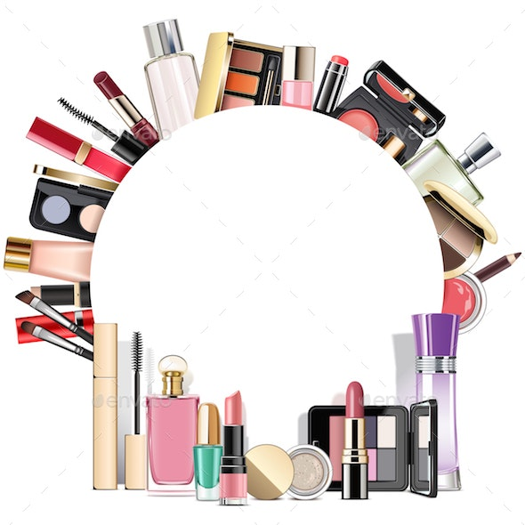 Vector Round Blank Frame with Makeup Cosmetics - Retail Commercial / Shopping