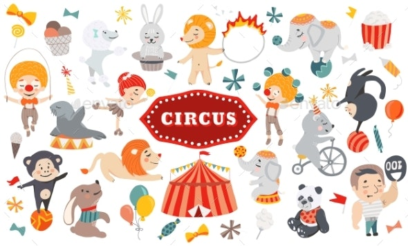 Vector Illustration Circus - Animals Characters