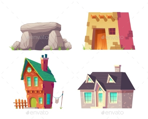 Human Houses History Cartoon Vector Collection - Buildings Objects