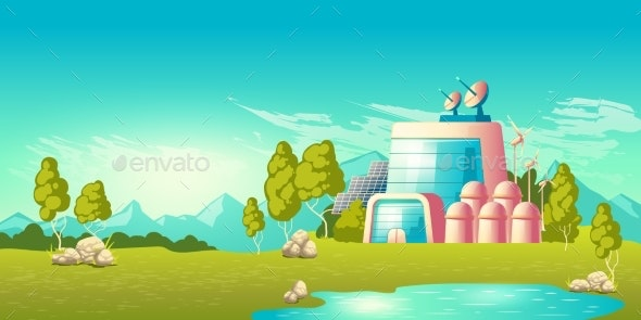 Ecological Power Station Building Cartoon Vector - Industries Business