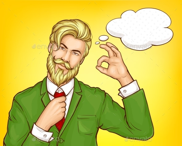 Hipster Man in Green Suit Cartoon Vector - People Characters