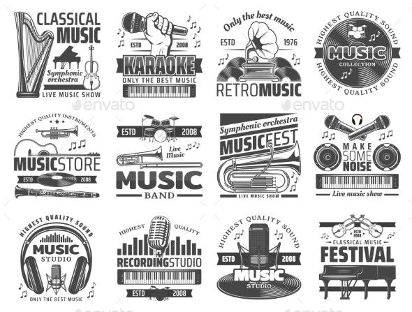 Music Icons - Decorative Symbols Decorative