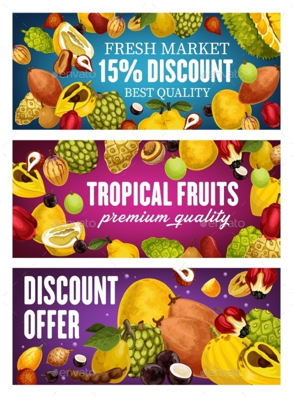 Exotic Fruits Tropical Farm Market Promo Offer - Food Objects