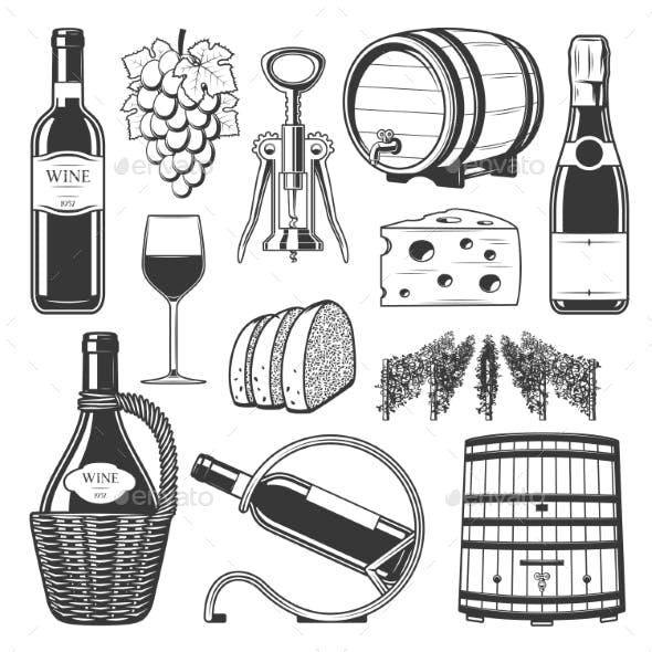 Winery and Wine Production Icons