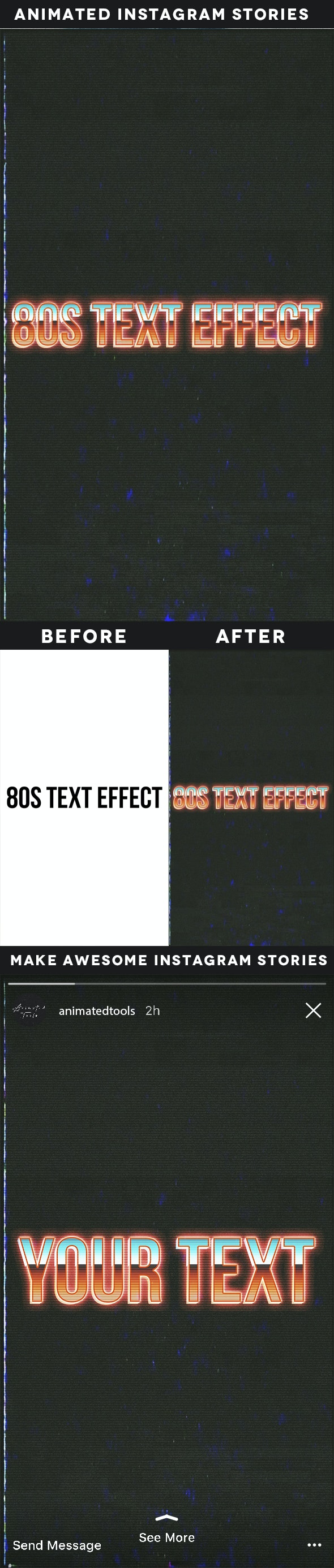 Animated Instagram Stories 80S Text Effect - Text Effects Actions