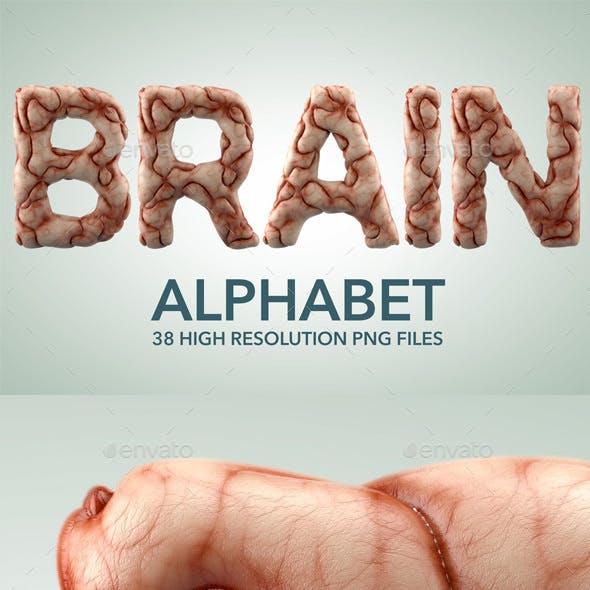 Brain Alphabet 3D Render Set