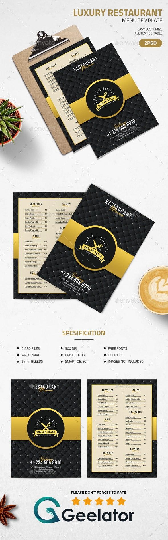 Luxury Restaurant Menu Template - Food Menus Print Templates
